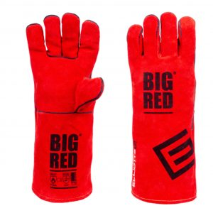 Big red welding glove
